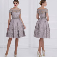 A Line Mother of the Bride Lace Dresses Appliques Saudi Arabic Short Wedding Party Gowns Ruched Plus Size Evening Dress