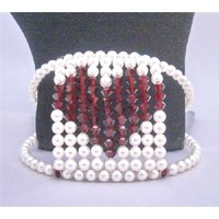 TB811 Passionate Love Express Jewelry Valentine Gift Give Your Heart Genuine Swarovski White Pearls With Siam Red Crystals Heart At Center Cuff Bracelet