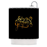 "Roberlan ""So Gorgeous"" Gold Black Shower Curtain"
