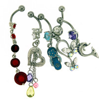 Assortment-A18 of 5 Belly Rings - Limited 1 per Order per Day.