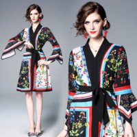 Gucci Latest Fashion Women's V-neck Flared Sleeve Loose Fashioned Ancient Printed Dresses