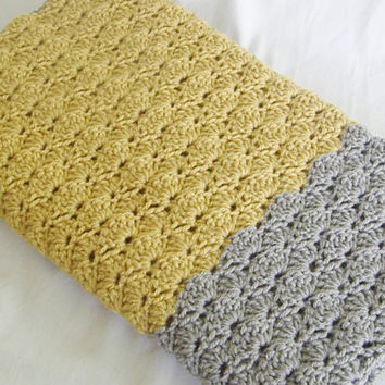 Ready To Ship Mustard and Gray Baby Toddler Afghan Crib Blanket Baby Shower Gift