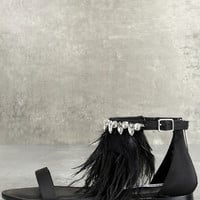 Steve Madden Adore Black Feather and Rhinestone Sandals