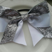 Cheerleading Bow- Silver Sparkle and White Ribbon