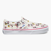 Vans Disney Minnie Mouse Classic Girls Slip-On Shoes Pink Combo  In Sizes