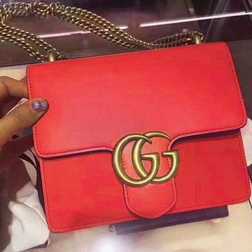 GUCCI Popular Women Shopping Bag Leather Metal Chain Double G Buckle Shoulder Bag Crossbody Satchel