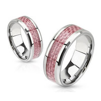 Circle of Pink Ribbon Ring - FINAL SALE Pink Carbon Inlay Stainless Steel Breast Cancer Awareness Ring