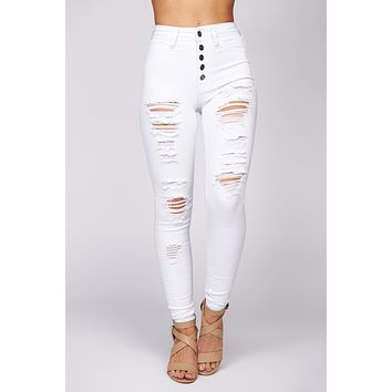 Cool Like You Distressed Button Up Skinny Jeans (White)