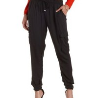 Black Drawstring Cargo Jogger Pants by Charlotte Russe