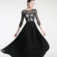 Long Sleeves Black Lace Cap Sleeves Prom Party Dresses