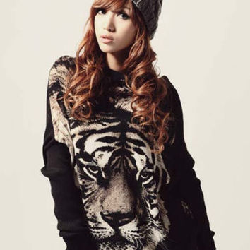 New Ladies Tiger Batwing Print Knitwear Studded Stretch Pullover Sweater Jumper