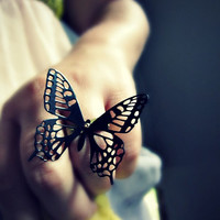 Black Butterfly ring - statement ring - cocktail ring - brass ring - avant garde - metalwork - wedding jewelry