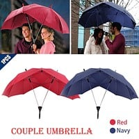 Double top double pole one-piece umbrella global fashion personality foreign trade umbrella creative couple umbrella double pole