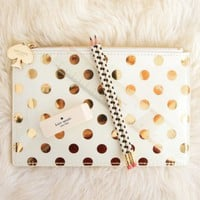 Kate Spade New York Pencil Pouch With Bridge Pencils-Gold Dots