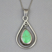 80s STERLING Turquoise PENDANT / Modernist Silver Necklace