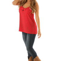 Forever & Almost Always Tank Top: Red/White