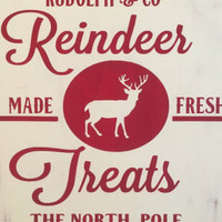 Reindeer Christmas Wooden Subway Art Sign-REINDEER TREATS-Holiday Decorations, Gifts for Her, Christmas Home Decor, Custom Signs, Rudolph