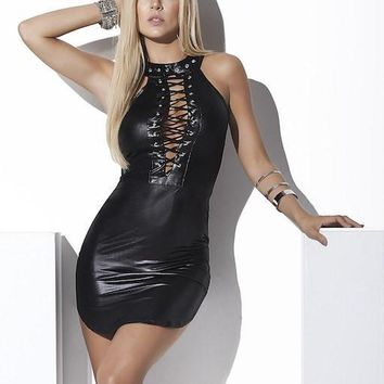 Laced-Up Wet Look Dress
