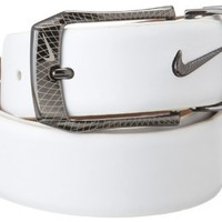Nike Laser Etched Belt and Buckle (White, 34)