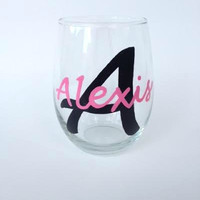 Monogrammed hand painted stemless wine glass tumbler