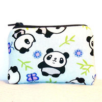 """Cute Panda & Bamboo Print Cotton Padded Pipe Pouch 4"""" / Glass Pipe Case / Spoon Cozy / Piece Protector / Pipe Bag / MINI"""