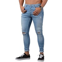 New Stretch  Mens Skinny Stretch Denim Pants Distressed Ripped Freyed Slim Fit Jeans Trousers