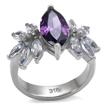 Vintage Rings TK085 Stainless Steel Ring with AAA Grade CZ in Amethyst