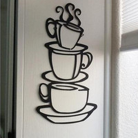 Removable DIY Kitchen Decor Coffee House Cup Decals