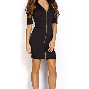 Cady Black Zip Front V Neck Bodycon Dress with Sleeves