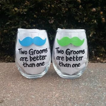 Gay Wedding Glasses  Two Grooms Are Better Than One with mustache