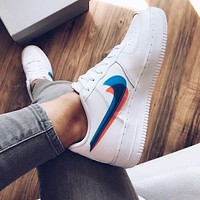 Nike Air Force 1 Trending Women Men Leisure Pink Blue Double Hook Sport Running Shoes Sneakers
