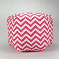 24 Inch Contemporary Modern Floor Ottoman Pouf Pillow Candy Pink/ White Chevron Zig Zag
