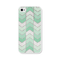 Mint Green Herringbone Chevron iPhone 4 Case - Wood iPhone 4 Skin - Ombre iPhone 4 Cover - Cell Phone Case
