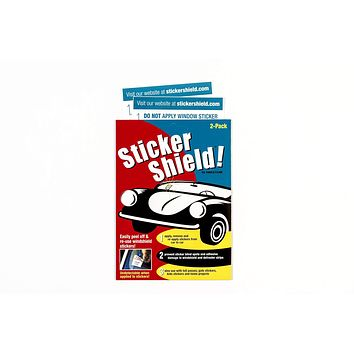 Sticker Shield - Windshield Sticker Applicator for Easy Application, Removal and Re-Application from Car to Car - 1 Pack of 4 inch x 6 inch Sheets (2 Sheets Total) 1 Pack (2 sheets total)