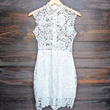 Lioness - Wedding Bells Sleeveless Lace Bodycon Dress in White
