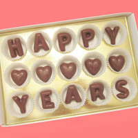 Happy Custom Number Years Creative Kawaii Anniversary Gift for Men Woman Couple Parent Her Large Milk Chocolate Letters