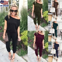 Women's Sexy Off Shoulder Playsuit Bodycon Short Sleeve Jumpsuit Romper Trousers