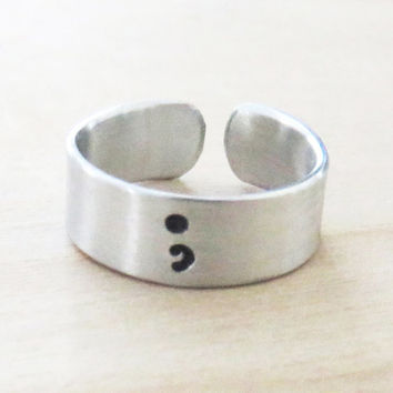 Semicolon ring inspirational motivational jewelry recovery gift suicide awareness