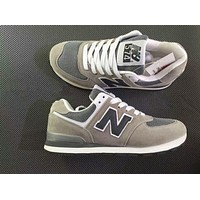 New Balance Stylish Unisex Personality All-Match N Words Breathable Couple Sneakers Shoes Grey I