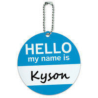 Kyson Hello My Name Is Round ID Card Luggage Tag