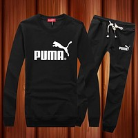 PUMA Woman Men Long Sleeve Shirt Top Tee Pants Trousers Set Two-Piece Sportswear