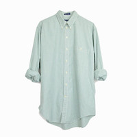 Vintage Striped Green Button Down Shirt / 90s Men's Shirt - men's medium