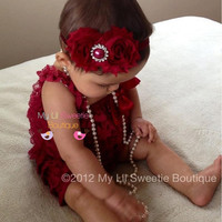 Original Burgundy Wine Cranberry Vintage Lace Petti Romper - Newborn Outfit - Baby Girl Outfit - Toddler- Christmas Outfit