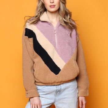 J.O.A. Shearling Colorblock Pullover