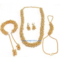 Trendy Pearl clustered Necklace and Earring set with bracelet and haath paan
