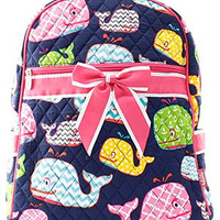 Monogram Backpack/ Personalized Pink Whale Back pack