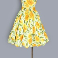 1960's Yellow Roses Vintage Floral Print Bubble Dress - M VINTAGE SUMMER DAY DRESSES: 50's - 60's :