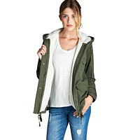 Faux Fur-Lined Anorak Parka Jacket in Olive