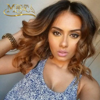 Virgin Malaysian Ombre Glueless Full Lace Human Hair Wigs Short Middles Part Body Wave Blonde Lace Front Wig Two Tone T#1B/30