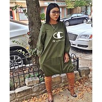 Champion Fashionable Women Loose Print Long Sleeve Dress Army Green